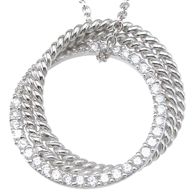Plutus kkp6405 925 Sterling Silver Rhodium Finish CZ Brilliant Locket Antique Style Necklace