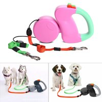 Auto Retractable Pet Dog Double Lead Dog Leash - Walk 2 Dogs Up to 50 lbs Each - 10 ft Leads