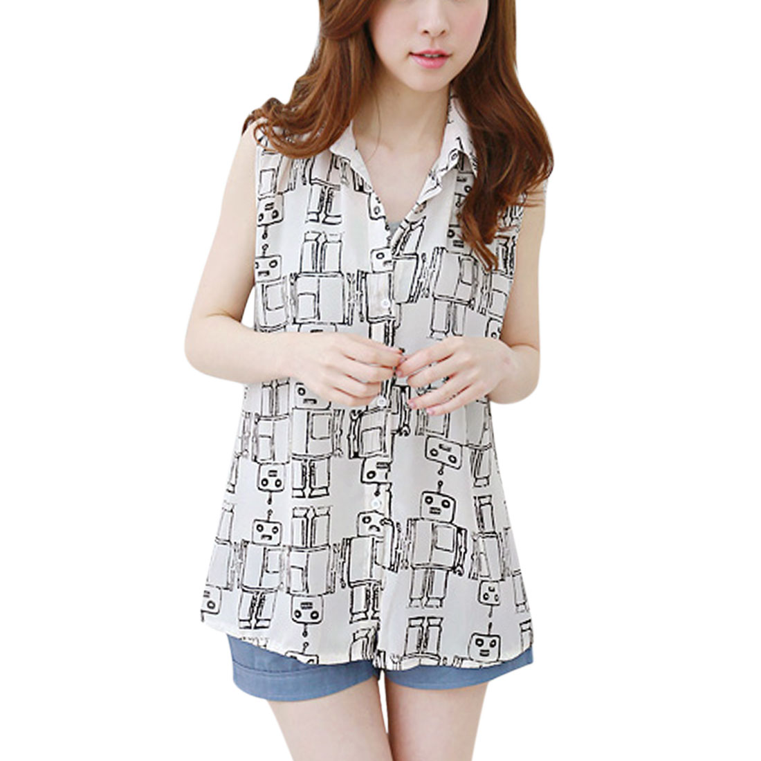 Women's Point Collar Sleeveless Robot Prints Casual Shirts White (Size S / 4)