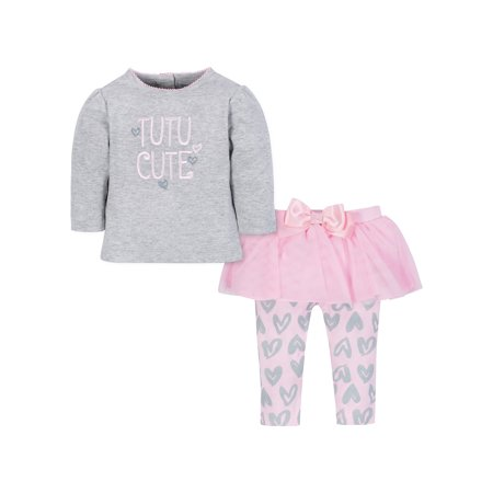 Gerber Baby Toddler Girl Shirt and Tutu Legging Outfit Set, 2pc