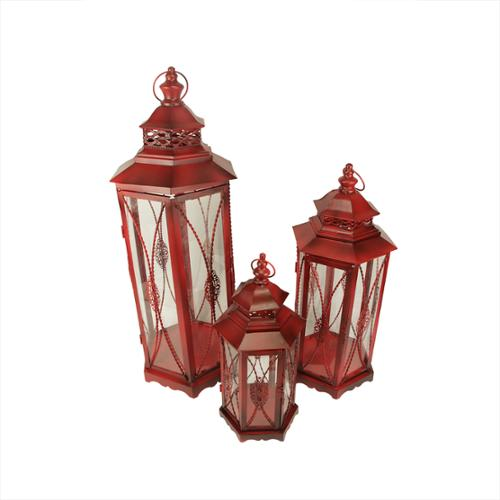 Set of 3 Old Red Victorian Inspired Ornate Pillar Candle Holder Lanterns 25.5""