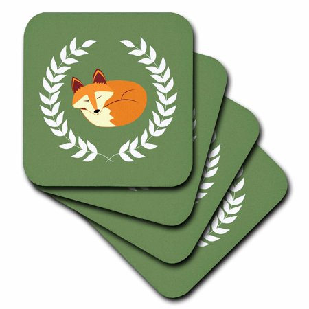 3dRose Sleeping Fox with Laurel Wreath Green - Soft Coasters, set of 4](Light Up Coaster)