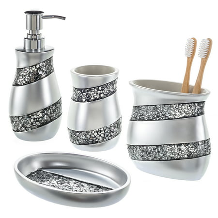 Silver Mosaic Bathroom Accessories Set, 4-Piece Luxury Bathroom Gift Set, Includes Soap Dispenser, Toothbrush Holder, Tumbler & Soap Dish - Walmart.com