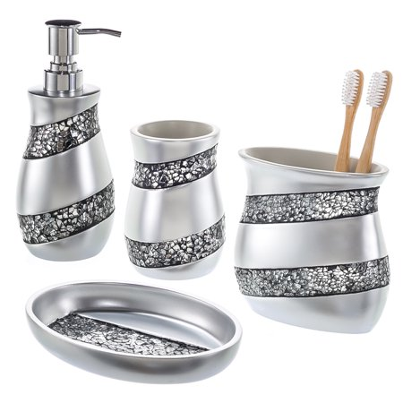 Silver Mosaic Bathroom Accessories Set 4 Piece Luxury