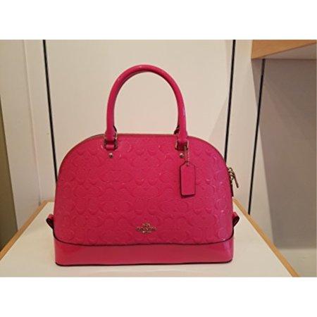 (Coach Signature Debossed Patent Leather Dome Satchel Bag Handbag, Dahlia (Medium, Dahlia))