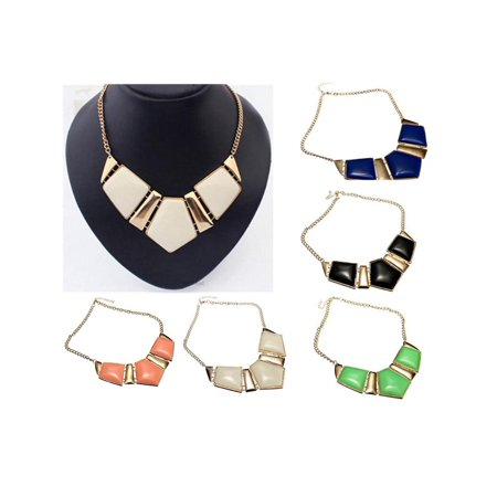 Vintage Geometry Chunky Choker Statement Bib Collar Pendant Chain