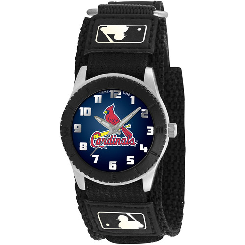 Game Time MLB Kids' St. Louis Cardinals Rookie Series Watch, Black Velcro Strap
