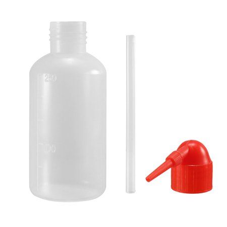 Plastic Wash Bottle Squeeze Bottle 250ml / 8.5oz Red Narrow Mouth Lab Tip Liquid Storage Watering Tools (Narrow Tip)