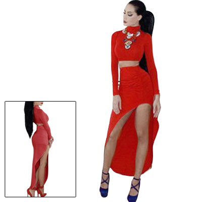Women's Sexy Long Sleeve Bodycon Crop Top w Skirt Club Party Suit Red (Size S / 4)