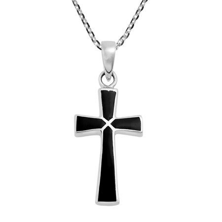 Minimalism Christian Cross Light Black Onyx .925 Sterling Silver Pendant Necklace