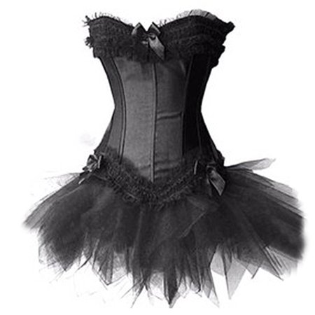 MUKA White Burlesque Corset And Petticoat, Halloween Costume, Gift Idea-Black-M