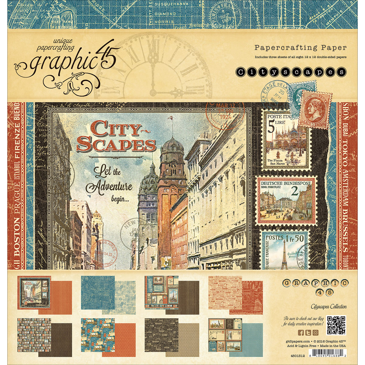 """Graphic 45 Double-Sided Paper Pad, 12"""" x 12"""", 24pk, Cityscapes, 8 Designs, 3 Each"""