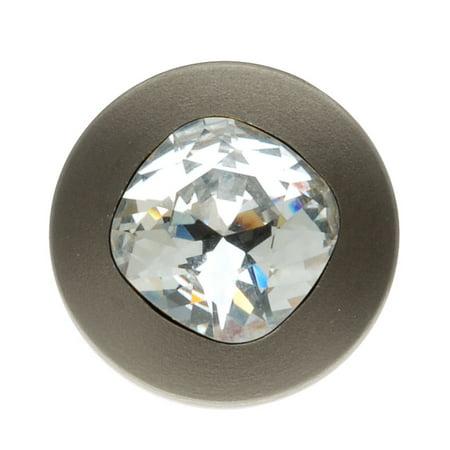 Swarovski Elements Crystal Button (SWAROVSKI ELEMENTS Gun Metal Tone Cushion Crystal Jean Button 17mm (1 Set) )