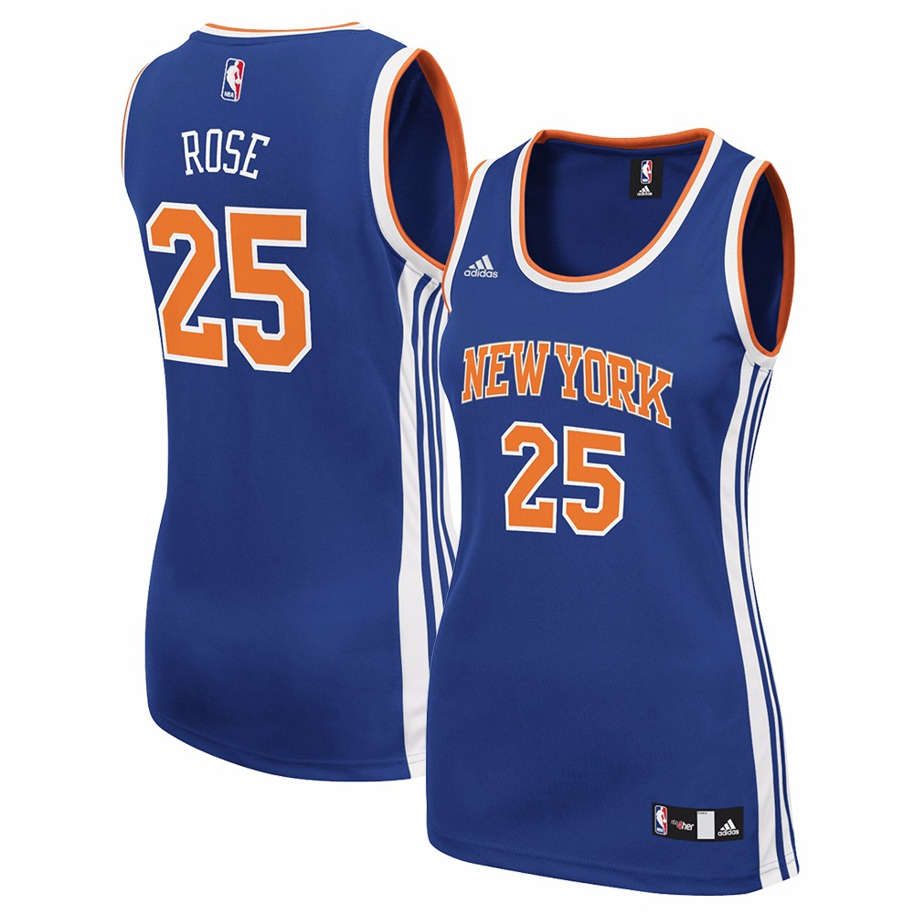 Derrick Rose New York Knicks NBA Adidas Blue Official Team Color Road Away Replica Jersey For Women