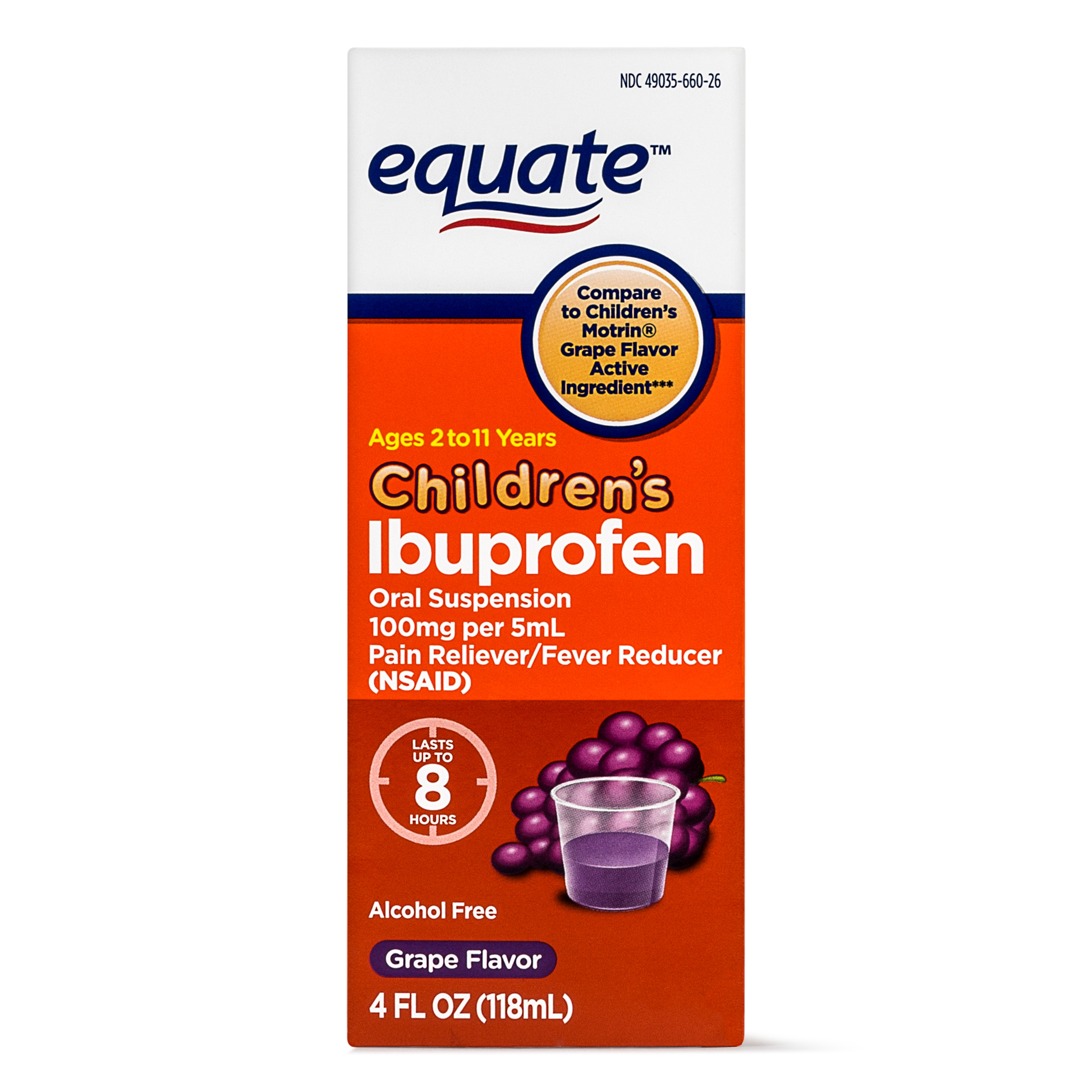 Equate Childrens Ibuprofen Grape Suspension, 100 mg, 4 Oz