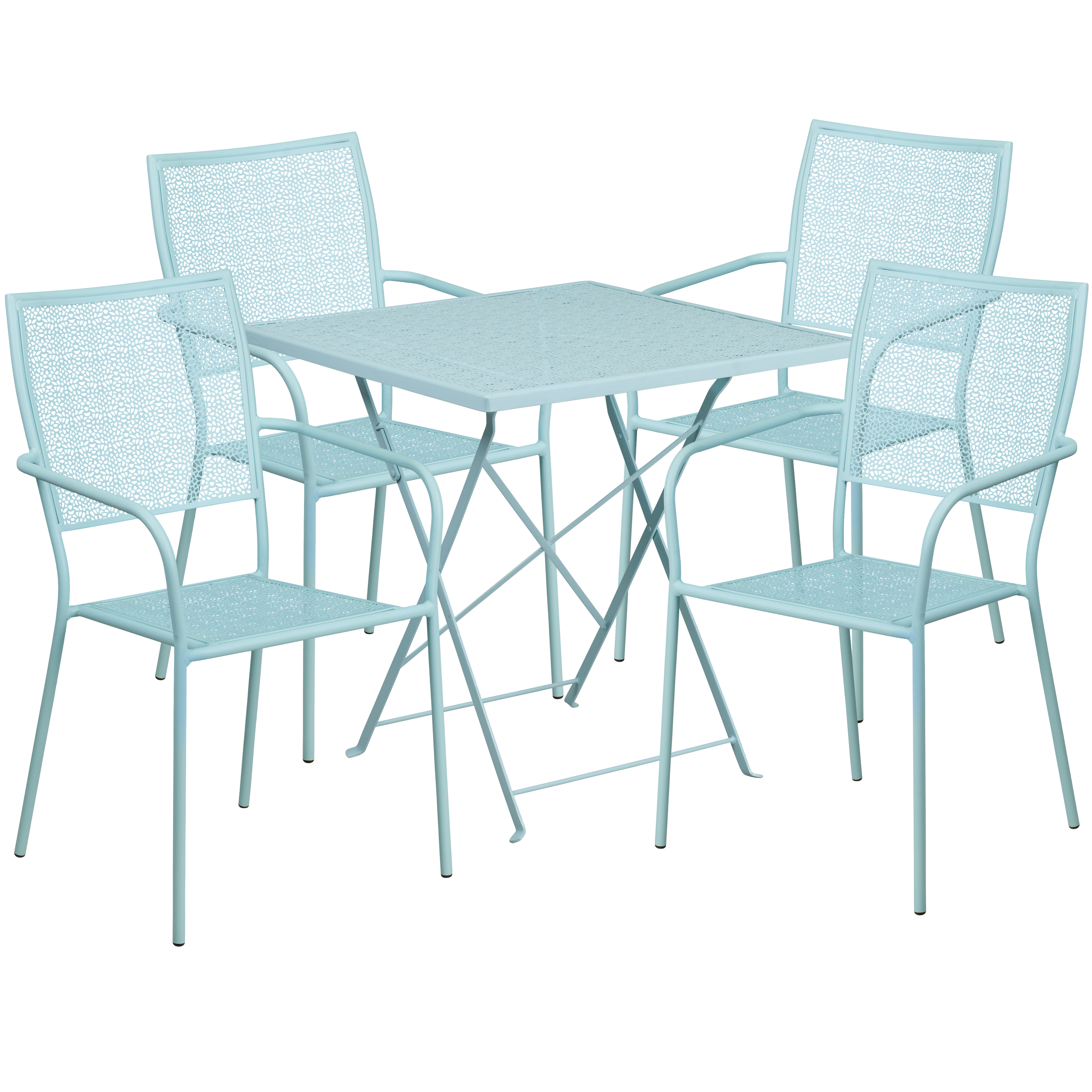 Flash Furniture 28'' Square Indoor-Outdoor Steel Folding Patio Table Set with 4 Square Back Chairs, Multiple Colors