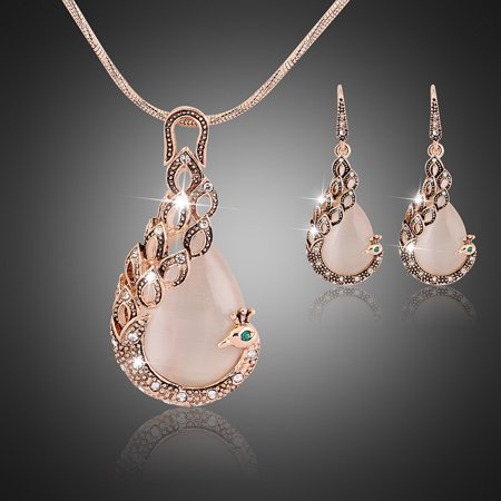 Bful Gold Plated Peacock CZ White Opal Crystal Wedding Fashion Pendant Jewelry Set