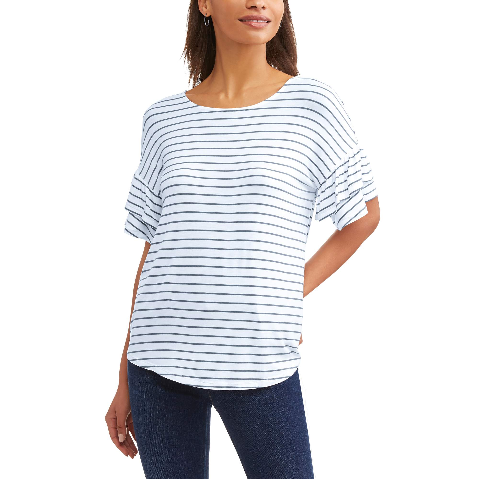Women's Short Sleeve Scoopneck Ruffle T-Shirt
