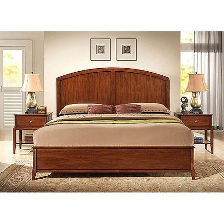 - Hudson California King Bed and Set of Nightstands, Chestnut