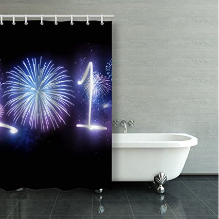 ARTJIA The Year 2018 Displayed With Fireworks And Strobes New Year And Holidays Concept Shower Curtain Bathroom Curtain 36x72 inches