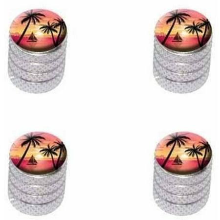 Pink and Orange Beach Sunset Palm Trees Ocean Sail Boat Vacation Tire Rim Wheel Aluminum Valve Stem Caps, Multiple Colors (Beach Tires)