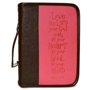 Bible Cover-Heat Stamp LOVE-Black/Pink-Medium
