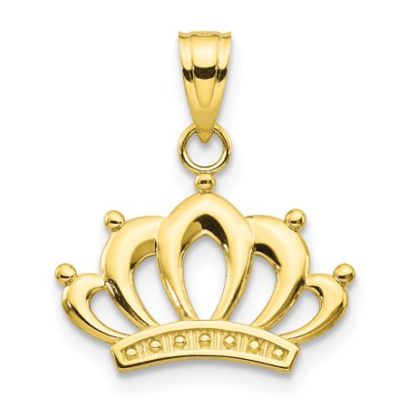 10k Yellow Gold Crown Pendant Charm Necklace Fine Jewelry For Women Gift Set
