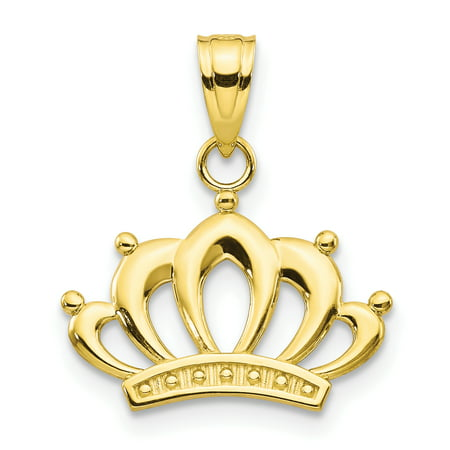 - 10k Yellow Gold Crown Pendant Charm Necklace Fine Jewelry For Women Gift Set