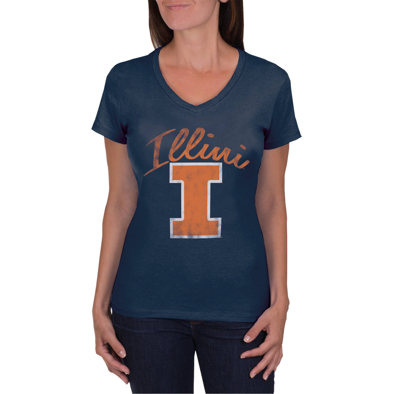 NCAA Illinois Fighting Illini Women's V-Neck Tunic Cotton Tee Shirt