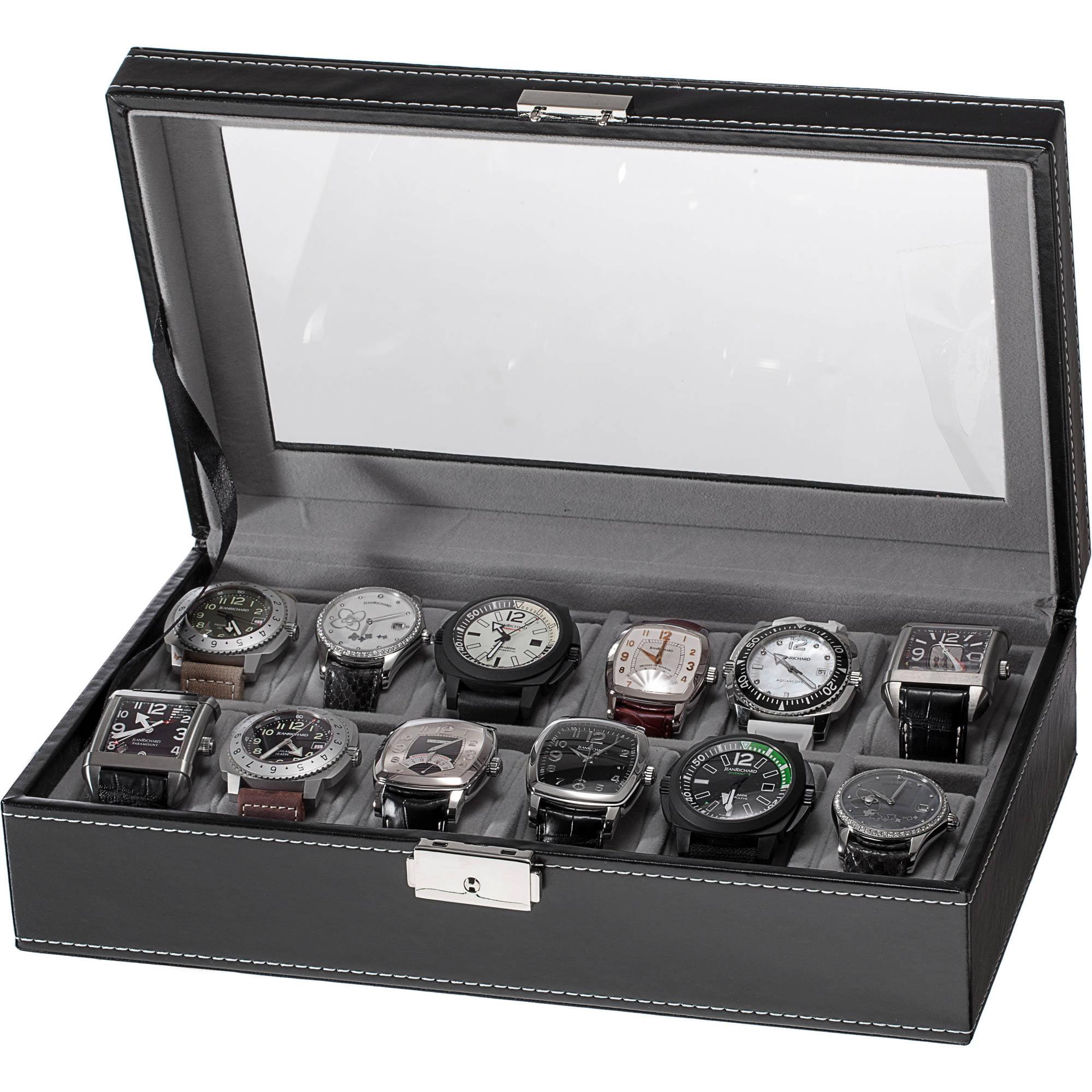 12-Slot Watch Box, Black