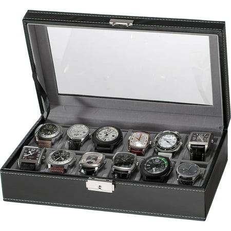 12-Slot Watch Box, Black -