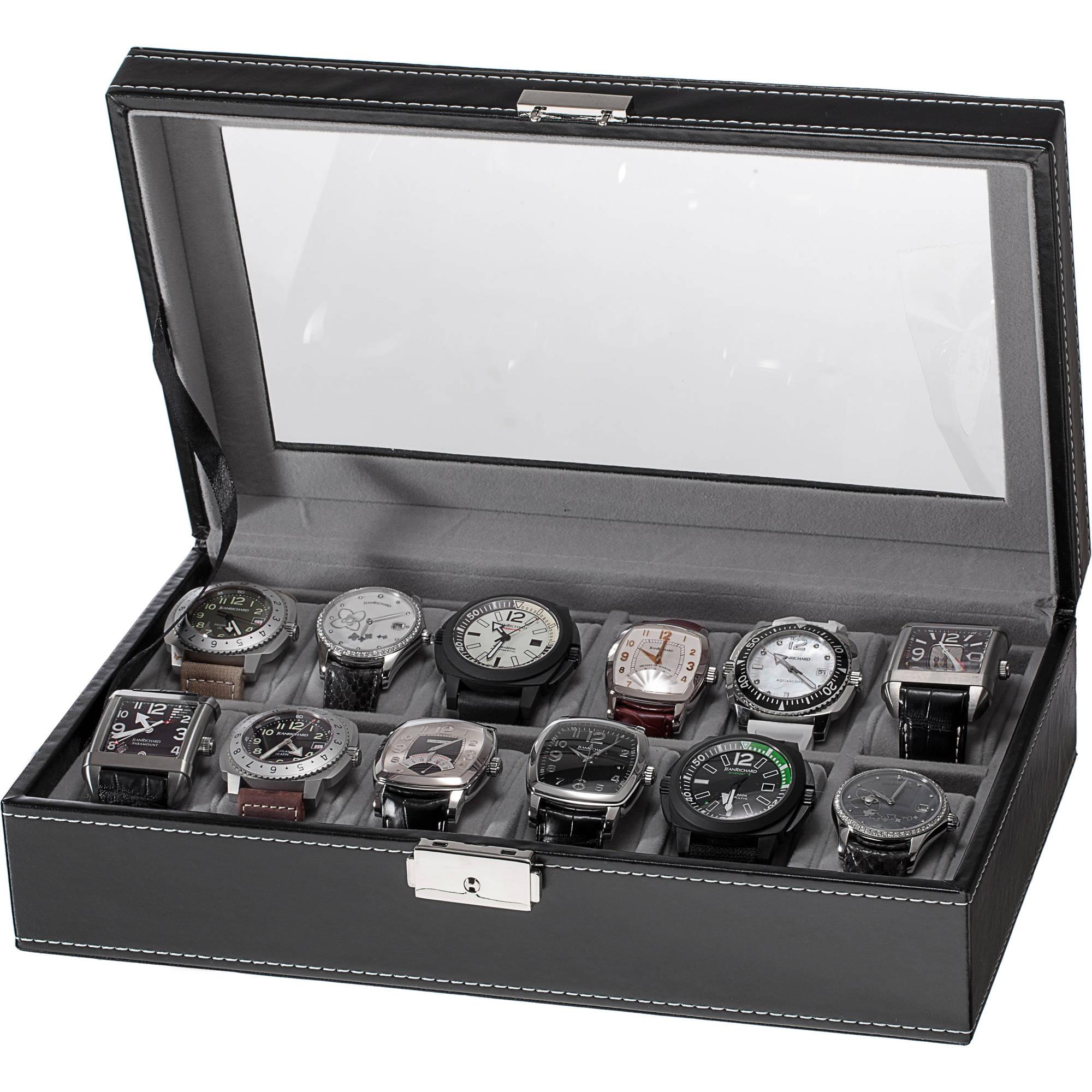 12 Slot Watch Box, Black