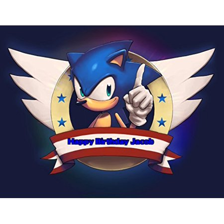 Sonic the Hedgehog Edible Image Photo Sugar Frosting Icing Cake Topper Sheet Personalized Custom Customized Birthday Party - 1/4 Sheet - - Birthday Cake Toppers