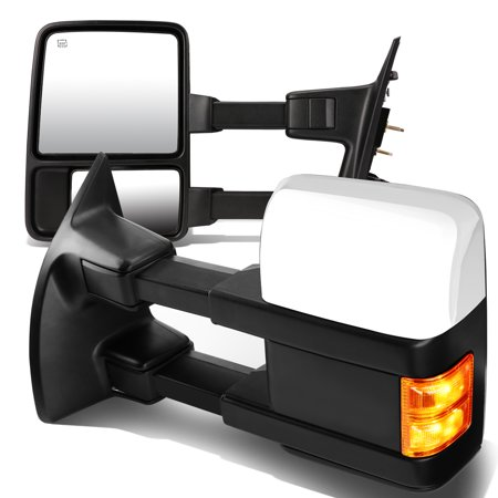 For 2008 to 2016 Ford F -Series Pair of Chrome Powered + Amber Signal Glass + Manual Extenable Side Towing Mirrors 13 14 (Manual Telescopic Towing Mirrors)