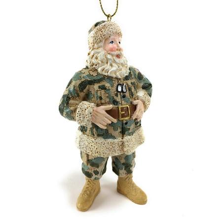 US Military Camouflage Santa Christmas Tree Ornament