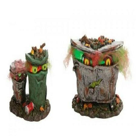 SPOOKY TRASH CANS Dept 56 Halloween Village Figurine (Halloween Trailer Trash)