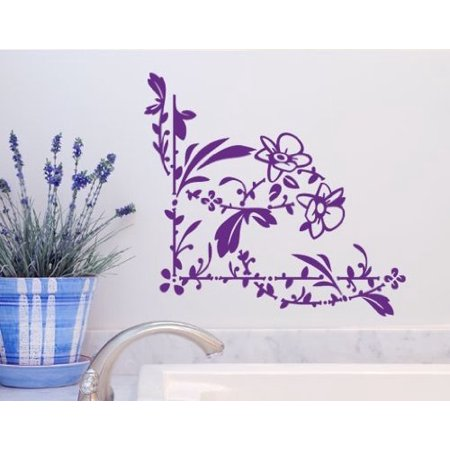 Floral Decorative Corner Wall Decal - Wall Sticker, Vinyl Wall Art, Home Decor, Wall Mural - 2586 - White, 16in x 15in
