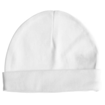 Baby Jay 100% Cotton White Baby Pull on Hat Cap Boy Girl 0-3-6-12 Month (Small, White)