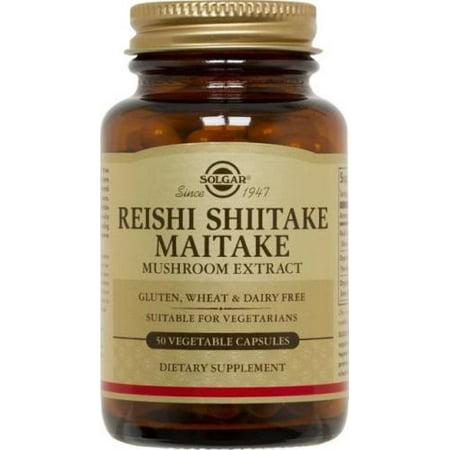 Reishi Alcohol Free Extract (Solgar Reishi Shiitake Maitake Mushroom Extract Vegetable Capsules, 50)