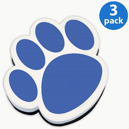 (3 Pack) Ashley, ASH10002, Paw Shaped Magnetic Whiteboard Eraser, 1 Each, Blue,White