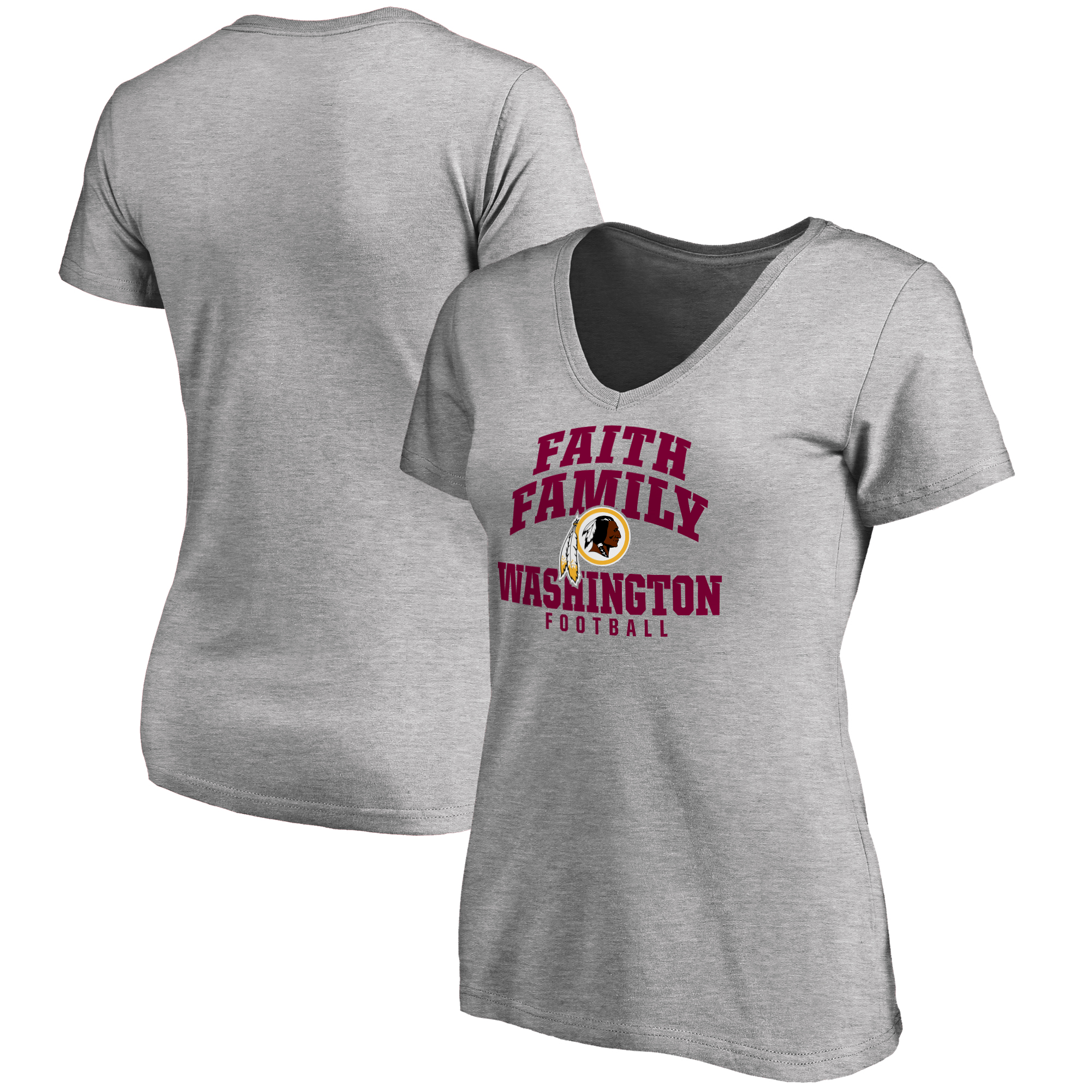 Washington Redskins NFL Pro Line Women's Faith Family T-Shirt - Heather Gray