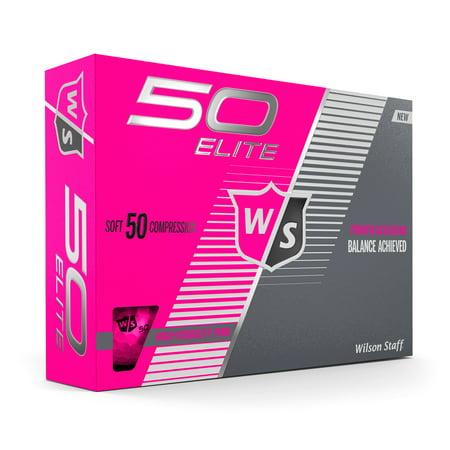 Wilson Staff 50 Elite Golf Balls, Pink, 12 Pack](Golf Balls Pink)