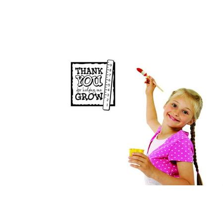 Custom Wall Decal Sticker : Thank You For Helping Me Grow Daycare Preschool School Kids Playroom Boy Girl Home Decor 12x12