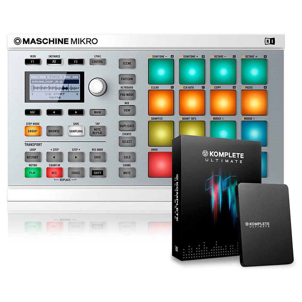 Native Instruments Maschine Mikro MK2 with KOMPLETE 11 Ultimate White by Native Instruments