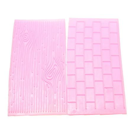 2PCS Fondant Mold Stone Brick Wall Lace Pattern Embossing Cake Decoration Deco Mould (Random Color),A Brick & Wood grain - Red Fondant