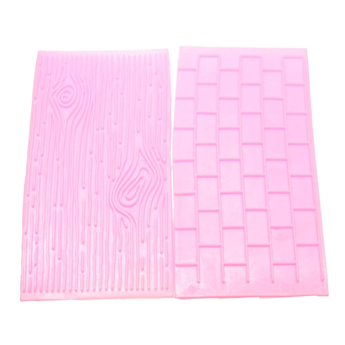 2PCS Fondant Mold Stone Brick Wall Lace Pattern Embossing Cake Decoration Deco Mould (Random Color),A Brick & Wood grain color