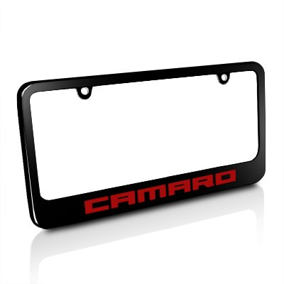 Chevrolet Camaro Red Black Metal License Plate Frame