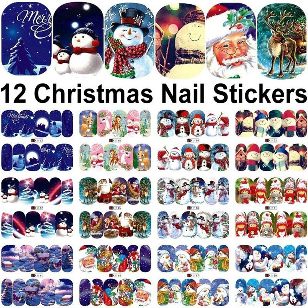 Girl12Queen 12 Sheets Women Xmas Decoration Manicure Decals Nail Art Stickers Beauty Accessory