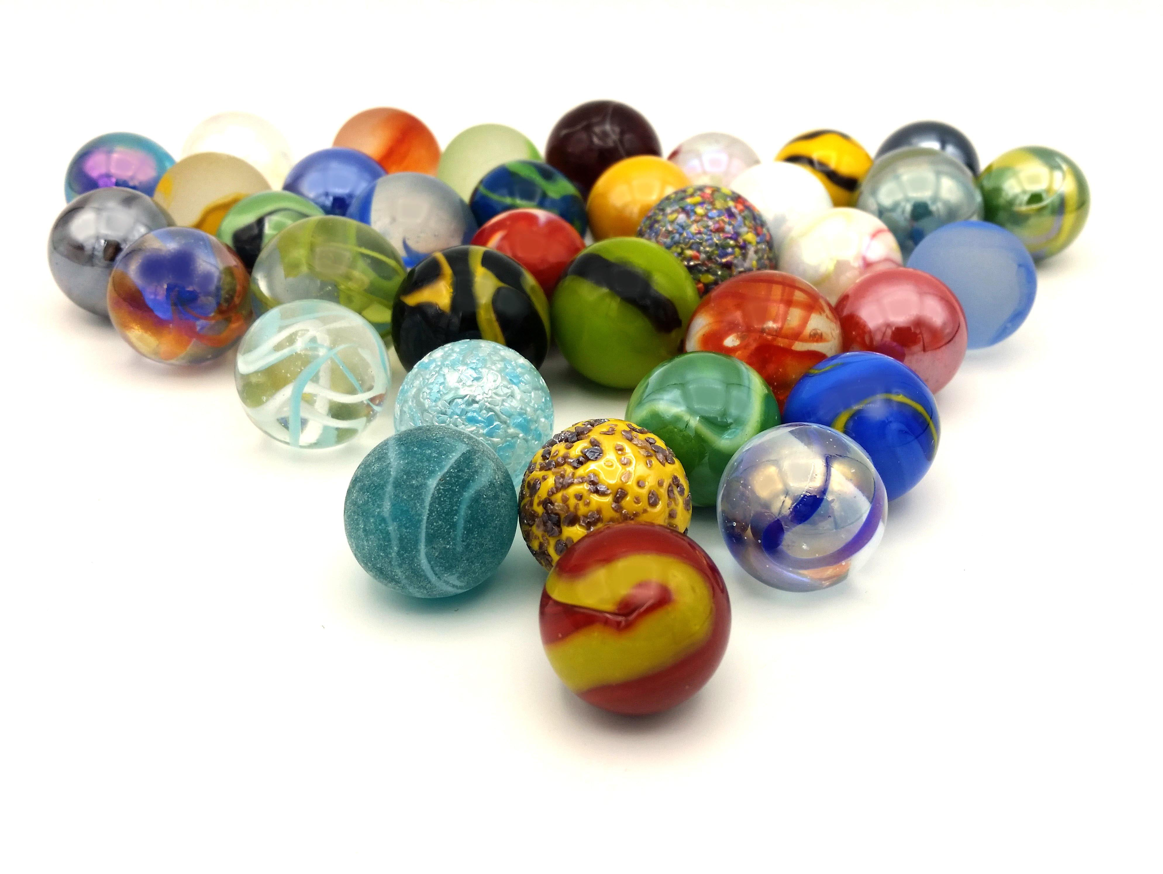 Mega Marbles Glass Shooters, Set Of 50 Assorted Colored