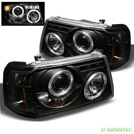 2001-2011 Ford Ranger Dual Halo LED Projector Headlights Black Head Lights Lamp Pair L+R 2002 2003 2004 2005 2006 -